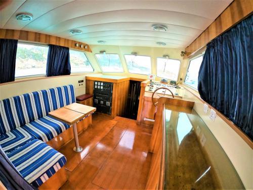 Interior of a motor boat in the La Maddalena Archipelago