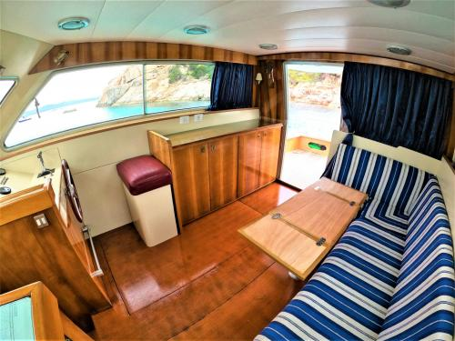 Living room with sofas of a motor boat