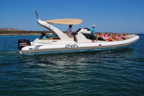 Maxi gommone in navigazione all'Asinara