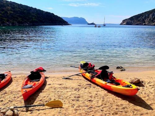 Kayak in spiaggia a Golfo Aranci