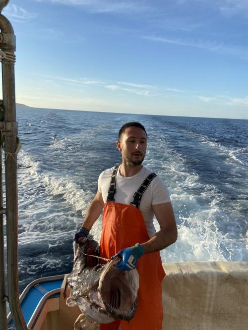 Pescatore in navigazione nel Golfo dell'Asinara