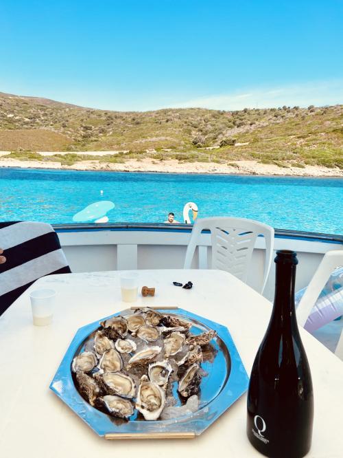 Aperitivo a base di pesce e vino a bordo di una barca da pesca nel Golfo dell'Asinara