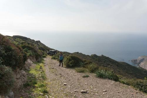 Hiker in the Argentiera area in the north-west of Sardinia