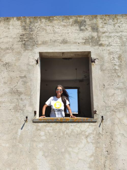 Girl in a former prison on the island of Asinara