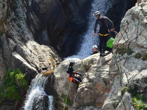 Group of hikers in Villacidro at the Sa Spendula waterfalls
