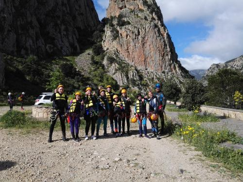 Hikers ready for canyoning