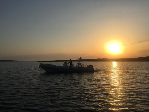 Dinghy during sunset excursion