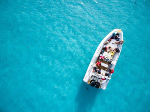 Inflatable boat with passengers in the blue sea of Asinara