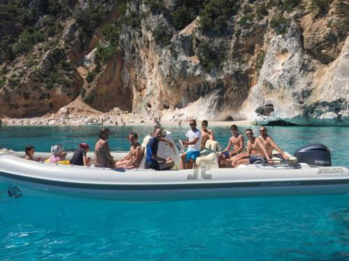 Inflatable boat with passengers during the excursion