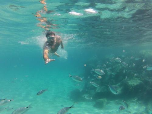 Snorkeling in the blue waters of Chia