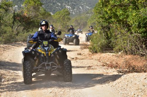 Hikers during quad biking experience