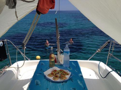 Lunch served on board a sailing boat