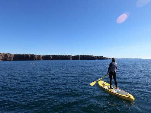 Mädchen in SUP und Küste der Insel San Pietro