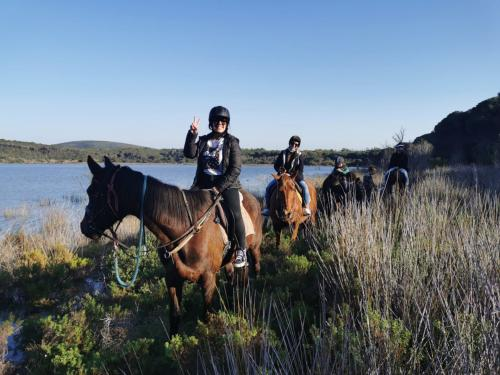 Girls on horseback during a guided excursion