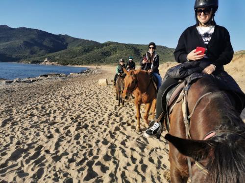Girls on a guided horseback ride