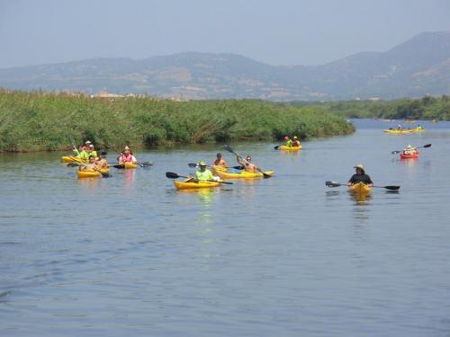 Gruppe von Wanderern auf Kanutour