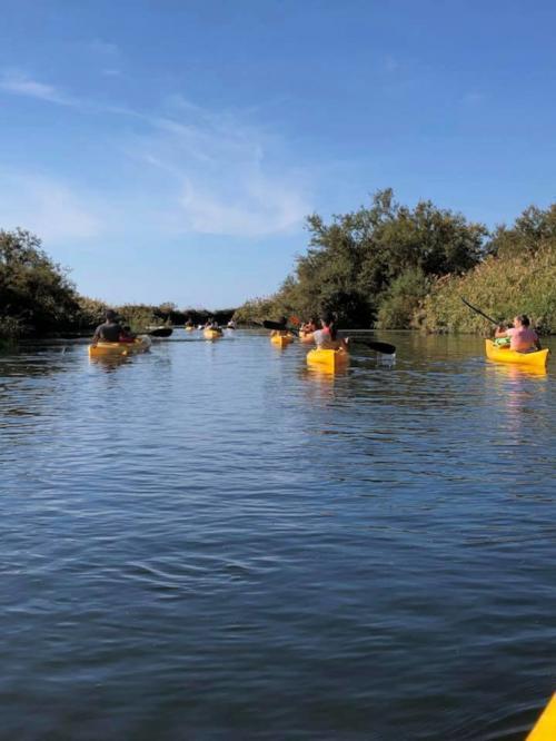 Gruppe von Kanuwanderern auf dem Coghinas River