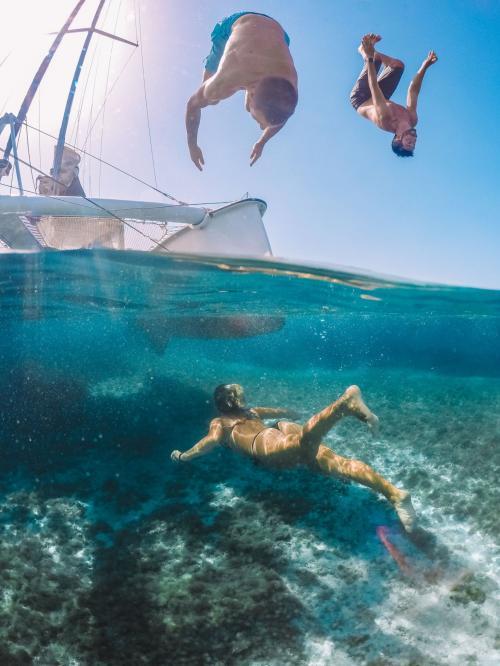 Girl swims in the sea of the La Maddalena Archipelago