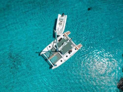 Catamaran in the transparent sea