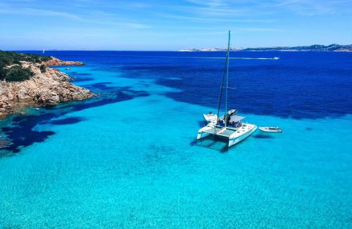 Catamaran in the crystal clear sea