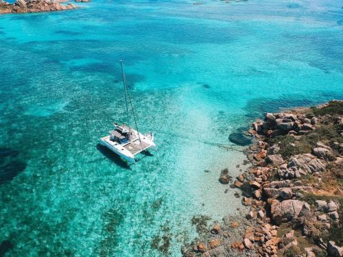 Catamaran between the islands
