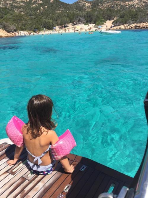 Little girl ready to swim in the sea of La Maddalena Archipel