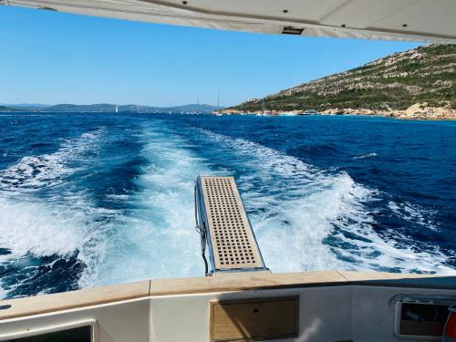Stern of a boat in the sea of the La Maddalena Archipelago