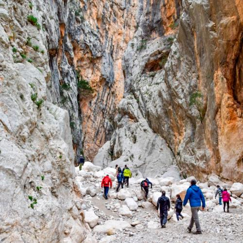 Guide with hikers in Gorropu