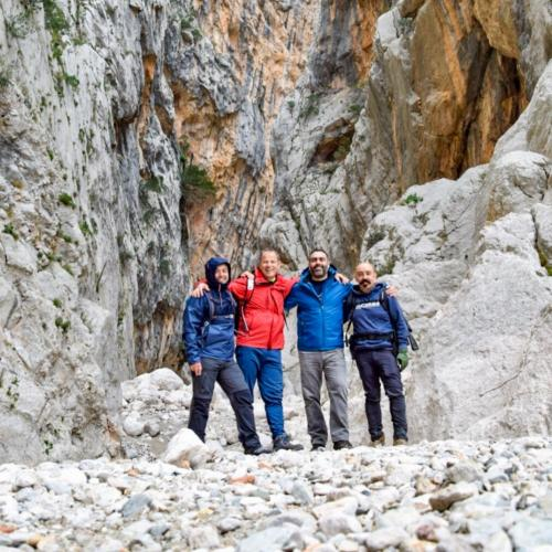 Guide with hikers