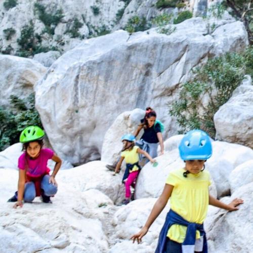 Children during guided trekking