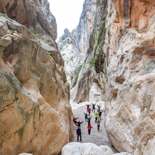 Group of hikers in the canyon