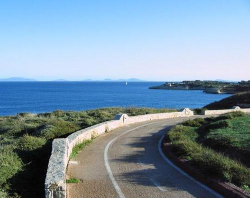 Cycle path in Porto Torres with sea view