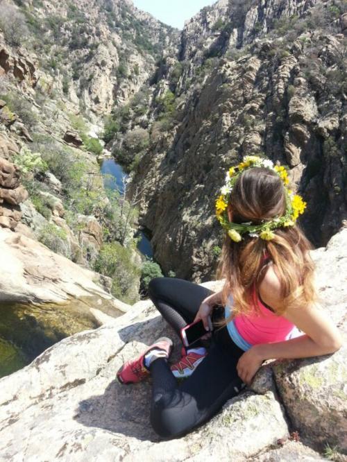 Girl at the Rio Pitrisconi waterfalls