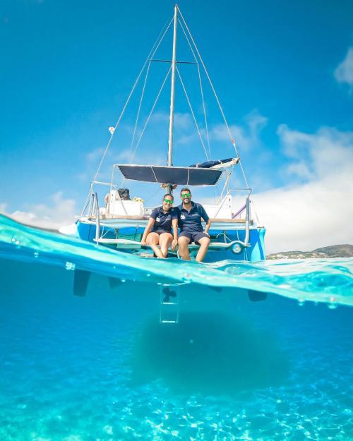 Couple aboard a catamaran