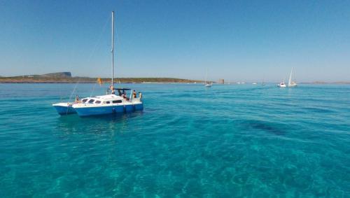 Catamaran in crystal clear waters