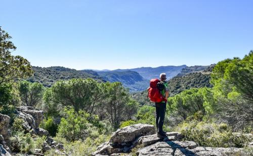 Wanderer bewundert Panorama