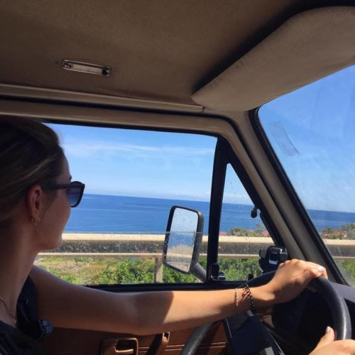 Girl driving the motorhome