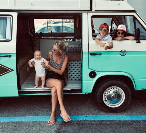 Family with children in motorhome