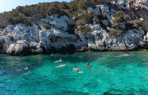 Los excursionistas nadan en el mar de Alghero