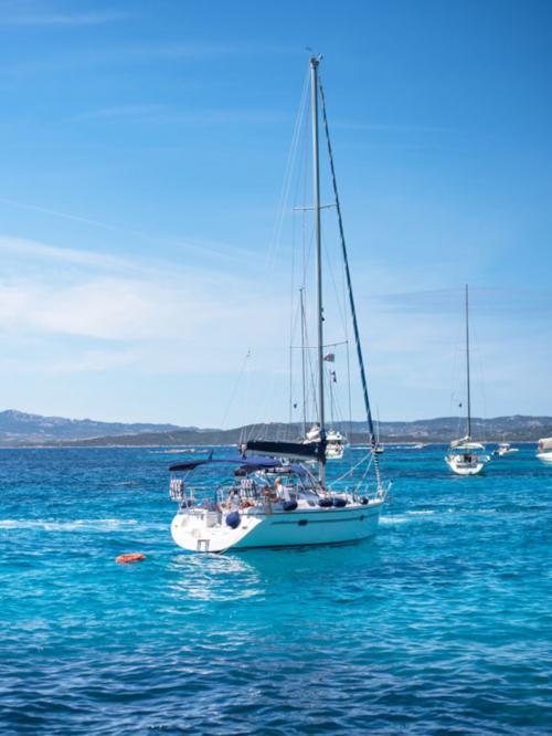 Sailboat in the sea of the La Maddalena Archipelago