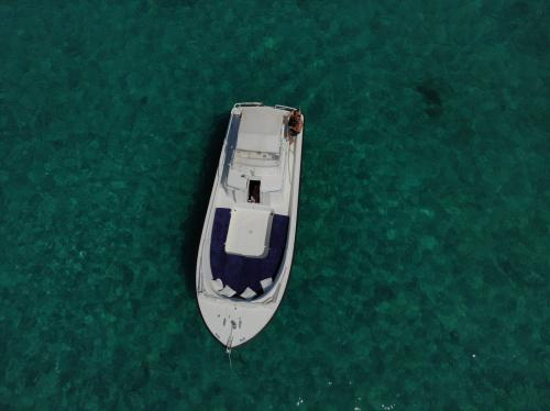 Inflatable boat in transparent waters in the protected marina of Tavolara