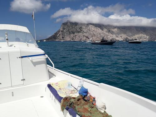 Inflatable boat with views of Tavolara