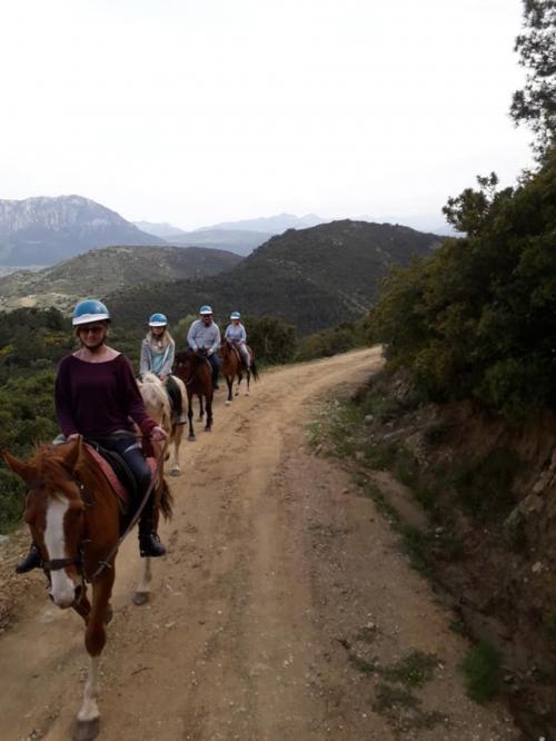 Horse hikers in Irgoli