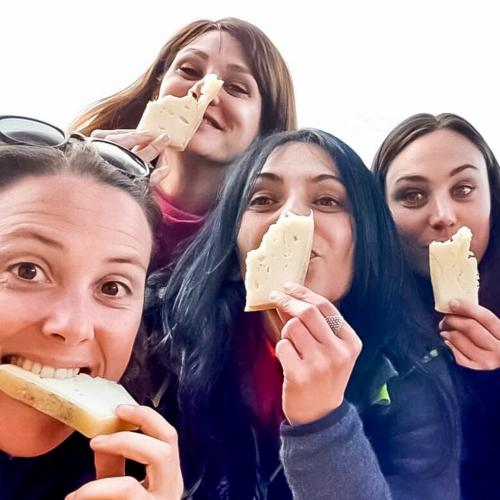 Hikers eat typical Sardinian cheese