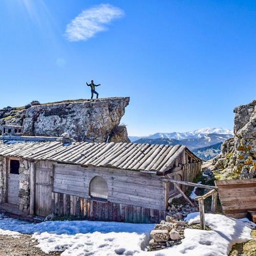 Hiker and panorama