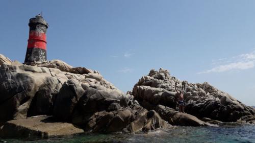 Lighthouse on an island of the La Maddalena Archipelago