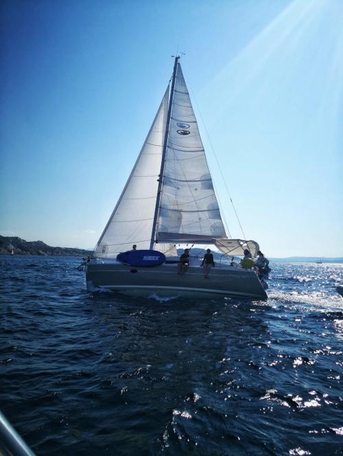 Sailboat sails in the La Maddalena Archipelago