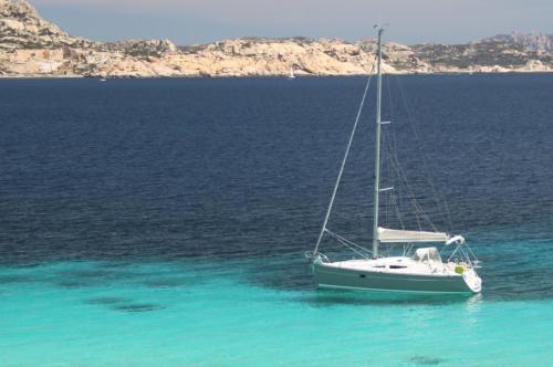 Sailboat between the islands of the La Maddalena Archipelago