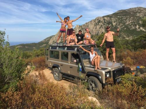 Group of hikers on off-road vehicles during canyoning in Rio Pitrisconi