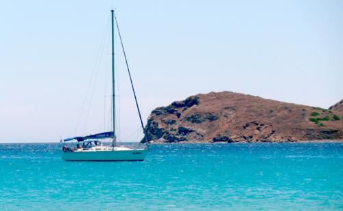 Sailboat in the sea of Villasimius